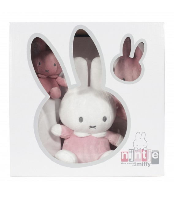 Σετ δωρου : Λουτρινο 20 εκ-πανάκι παρηγοριάς-κουδουνιστρα συσκευασια κουτι Miffy pink - ΛΙΑΝΙΚΗ ΤΙΜΗ 29.50 €